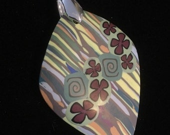 Spring Whims Pendant Necklace . Polymer Clay