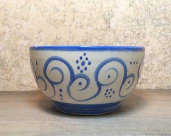 Blue and White Bowl - Handmade Stoneware Bowl - Ceramic Bowl - Ice Cream Bowl - Dipping Bowl - Stoneware Bowl - Blue Bowl - Soup Bowl