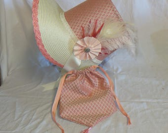 Coral and Ivory Stovepipe Bonnet and Reticule- Regency, Georgian, Jane Austen Era Bonnet and Purse