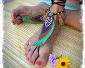 Feather BAREFOOT sandals LEAF foot jewelry Tassels Boho wrap sandal Leather sandal Tribal Woodland Dance Fairy Gypsy HIPPIE feet GPyoga