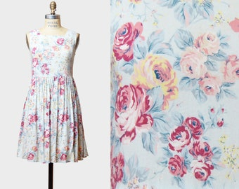 Vintage 90s Floral Dress Grunge Boho Mini Rose Flower Print / 1990s Ditsy Fitted Sleeveless Bow Dress Pink Blue Yellow XS