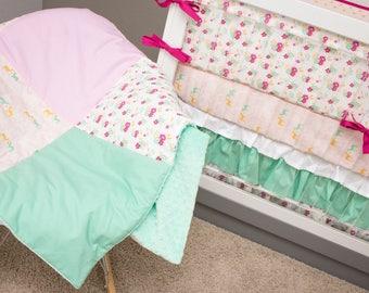 Floral Crib Bedding, Deer Girl Bedding Baby, Pink and Gold Baby Bedding, Mint Raspberry Pink Glitter Woodland Fawn Deer Flower Crib Set