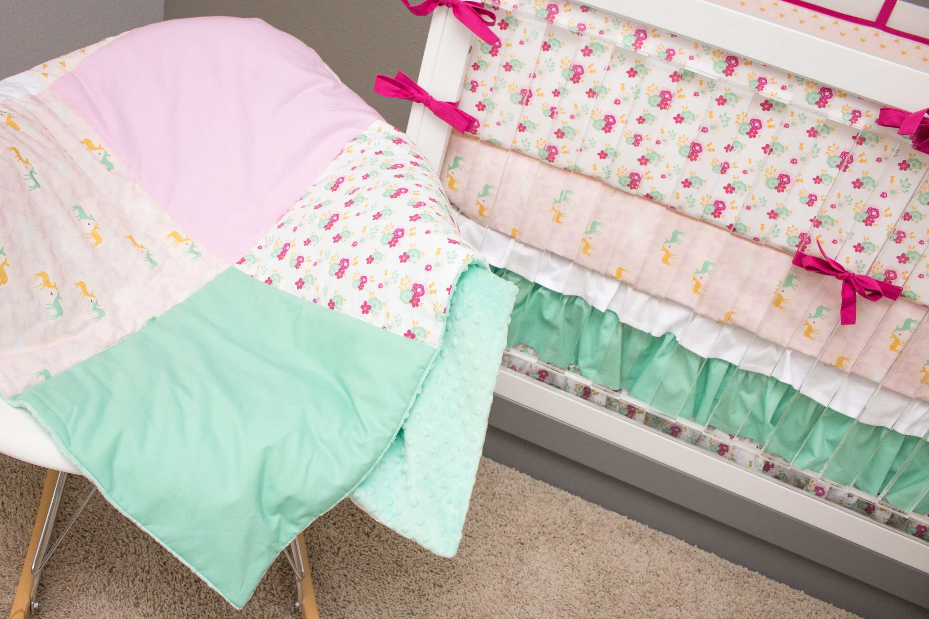 Floral Crib Bedding Deer Girl Bedding Baby Pink And Gold Baby