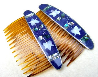 2 Mexican decorative combs abalone mother of pearl inlay hair accessories hair ornaments hair jewelry (AAG)