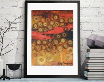 Red and Gold modern abstract, circles gold black red wall art,xl giclee prints,large art prints from original oil paper 10x14 small original