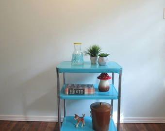 Mid Century Metal Kitchen Bar Cart Turquoise, Serving Cart Vintage Rolling  Cart Cabana Blue Painted
