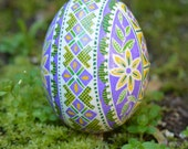 Lilac Pysanka Eggs beautiful color combo I am addicted to it summer Iris and lilacs large egg batik art one of a kind gift ideas
