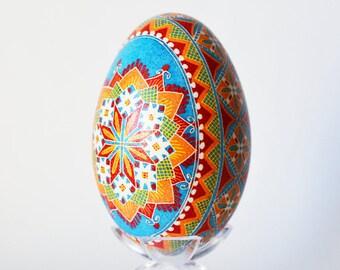 Christmas gift goose egg Pysanka your Ukrainian father would adore super cute keepsake symbol of peaceful sky and wellness spiritual gifts