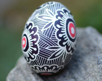Pysanka Ukrainian Easter egg in black and white beautiful gift and home decor real chicken egg painted with hot beeswax batik art