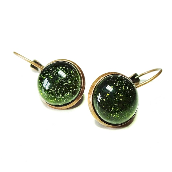 Dichroic Glass Antique Copper Lever Back Earrings - Olive Green