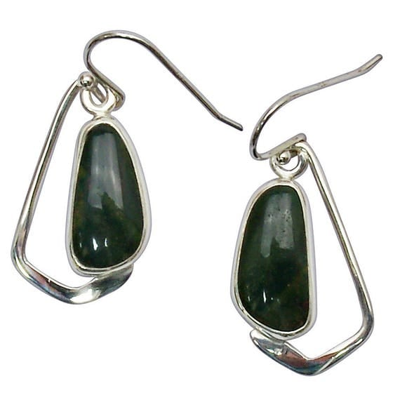 Bloodstone and Sterling Silver Dangle Earrings  ebsf2845