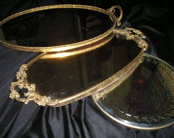 Vintage Shabby Chic Boudoir Dresser Display Trays.Glass Gilt Metal Ormolu/Beveled Ornate Antique Tray Lot.
