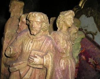 Unique Circle of 12 Saints/Santos Carved Clay Figures/Heads Religious Vessel Signed.Fabulous Religious Art.