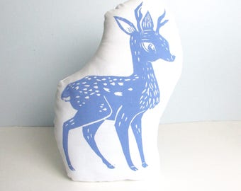 Deer Shaped Animal Pillow. Deer Plushie.  Hand Woodblock Printed. Choose Any Color. Made to Order.