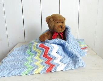Crochet Baby Blanket Handmade Boys Bright Baby Blue Rainbow Chevron Striped Knit Stroller Blanket 32 x 27 Inches