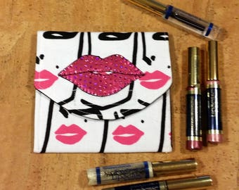 LipSence, Lipstick, lip gloss pouch, holder, custom made, lady with pink lips, holds 6-7 lipsticks, hot pink lips , great down line gift