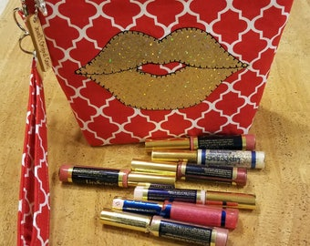 Distributors wrist-let  bag, purse, pouch LipSense,  red and white,  holds  21 lipsticks & additional supplies, shimmering golden lips