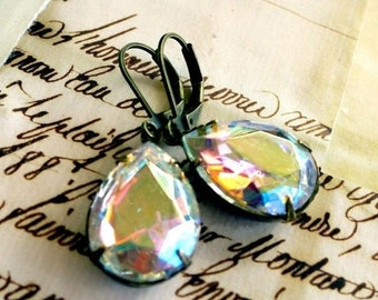MOVING SALE On Sale Flaming Ice Aurora Borealis Estate Style Vintage Crystal Pear Jewel Earrings