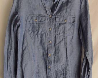 Blue Linen Shirt Sz. Small Long Sleeve Button Front Chambray Linen & Cotton Vintage Max Studio