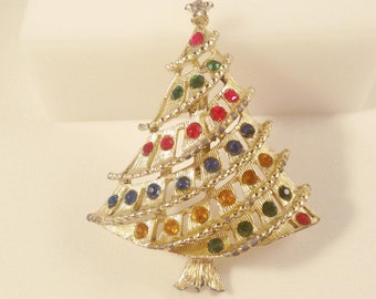 Colorful Christmas Tree Brooch, Vintage Jewelry, Rhinestone Christmas Tree Pin, Holiday Jewelry, Vintage Brooch, Christmas Brooch, Xmas Pin