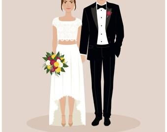 Custom wedding Portrait, 1st anniversary, paper gift