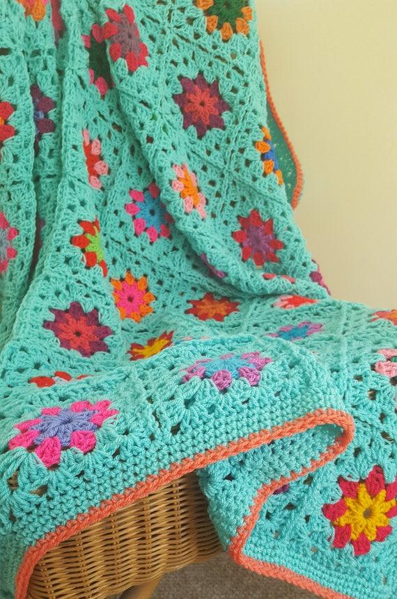 Aqua Granny Squares Blanket Crochet Peonies Afghan Throw