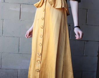 Vintage 1940's Dress // 40s Gold Jacquard Evening Gown with Black Ribbon Trim // Button Down Frilled Peplum Dress // Soiree
