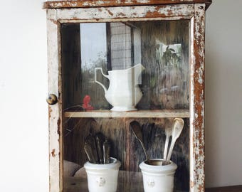 Vintage French White Cupboard with Glass Door, chippy paint, white cupboard