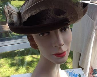 Vintage 1940s 1950s Hat Brown Wool W/Feathers Label Is: Merrimack Hat Corp. EXCELLO/Brewster Fifth New York