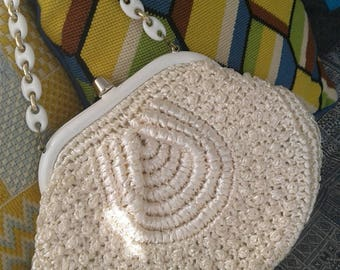 60s IVORY RAFFIA PURSE with Chain Handle