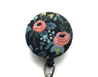 NEW Menagerie Badge Reel Rifle Paper Co. Floral Retractable Badge Reel Name ID Badge Holder Swivel Badge Clip Nurse Key Card Holder  Green