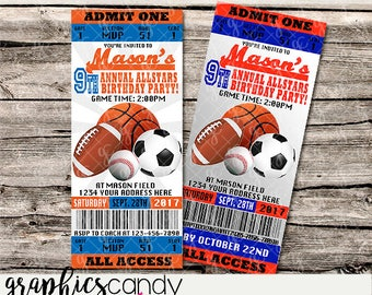 Sports Ticket Invitations 2 - All sports - Printable - DIY - Digital File - PERSONALISED for YOU - Photo or Generic