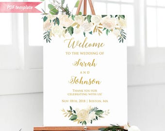 Printable Ivory Cream Floral Gold Welcome Sign, Editable Wedding Ceremony Sign Template, 24x36 18x24 16x20 Poster DIY Instant Download #06