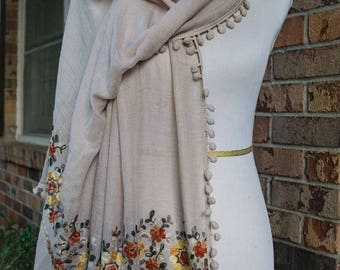 Embroidered Floral Scarf - Beige - Fall Winter 2017 Scarf - Embroidered Paisley Scarf - SALE - SHIPS IMMEDIATELY