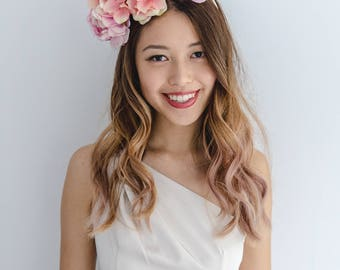 peach races flower crown // spring racing statement flower crown / spring races flower crown headband / flower fascinator bohemian