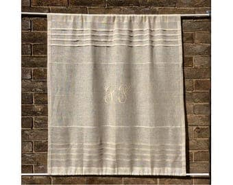 Sheer Natural Sidelight, Kitchen Linen Curtain, French Monogram Panel, Paris Decor, Front Door Curtain