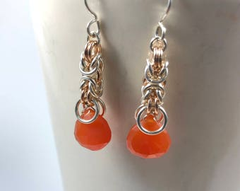 Signature Deirdre Earrings Sterling Silver with Rose Gold-Filled and Vibrant Orange Carnelian Chainmaille Byzantine