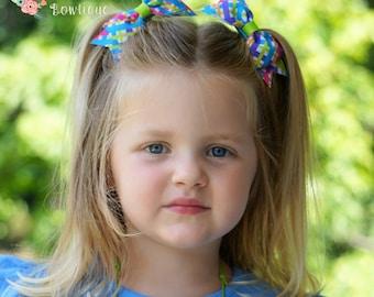 Multi-Color Neon Plaid Hair Bows/Babygirl Pony Tail Hairbows/Plaid Barrette/Basic Hair Bows/Plaid School Bow/Little Girls Neon Hair Bows