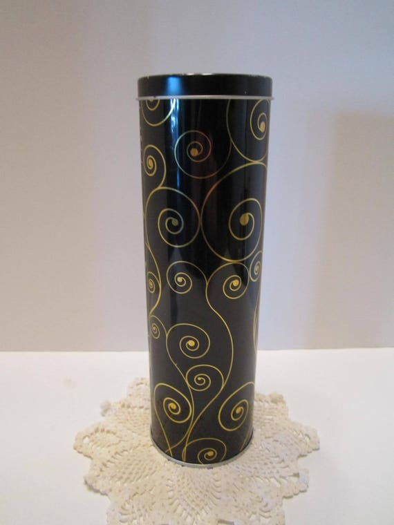 Stockmeyer Shortbread Cookie Tin - Black and Gold Scroll Design - Cookie Gift Tin Container