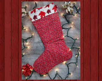 CANADIAN CHRISTMAS Stocking Canada Canuck Maple Leaf USA American Christmas