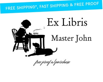 Personalized Bookplate Rubber Stamp from the library of, Ex Libris or make it custom Self-Inking or Mounted with Wood Handle - 20216-