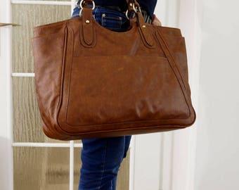 Leather Tote Bag, Leather Bag, Leather Handbag, Leather Weekender, Laptop bag, Leather Tote, Handmade Leather Bag, Leather bag women - Julia