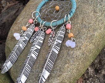 Dream Catcher Necklace Blue suede Braided Web Silver Feather Beads Native American Tribal Necklace Beads