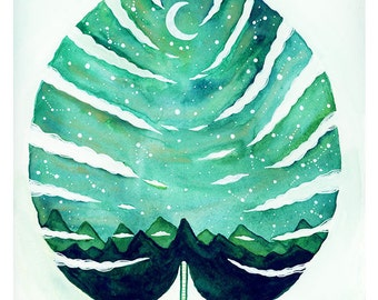 Botanical Watercolor// Original Painting // Aurora Borealis Monstera