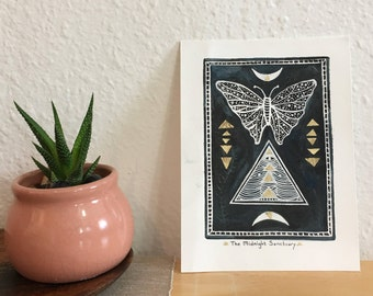 original mixed media block print // the midnight sanctuary