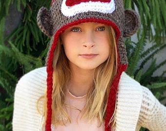 Sock Monkey Hat - Crochet Pattern - Baby - Child - Adult - Cecil the Sock Monkey - Ava Girl Designs Crochet Pattern