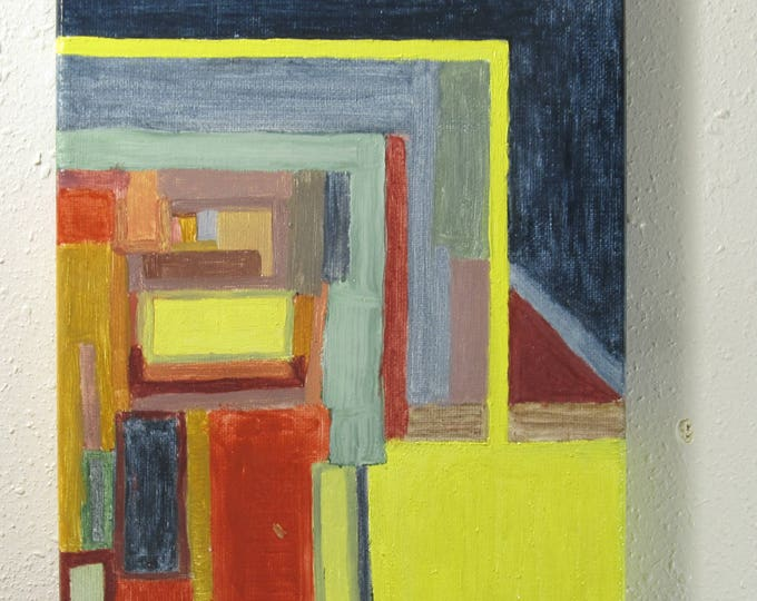 Red Door: Abstract oil painting on canvas, ready to hang, 8 x 10 inches