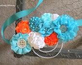 Orange Blue Maternity Sash, Boy Maternity Sash, Orange Maternity Sash, Pregnancy Sash, Baby Shower Sash, RTS, Orange, Turquoise, Aqua White