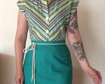 Chevron 1940s inspired repro striped blouse made from Vintage pattern