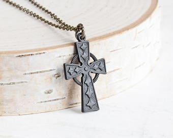 Oxidized Black Ornate Cross Necklace on Antiqued Brass Chain (Hand Patina)